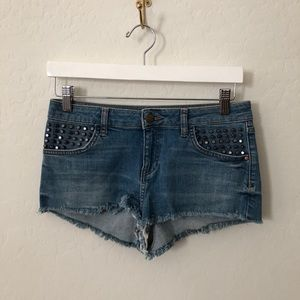 Topshop studded jean Shorts